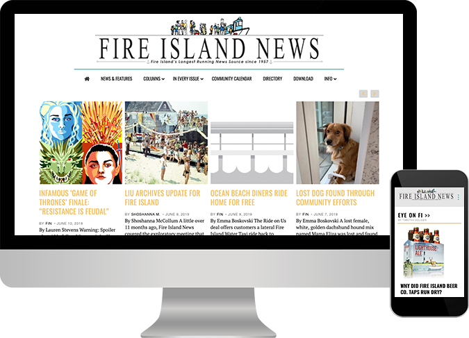 Image of Fire Island website