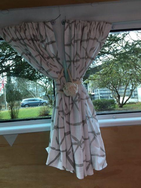 van curtains tied back